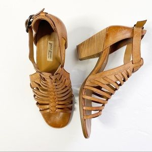 PAUL GREENE Brown Leather Upper Block Heel Sandals